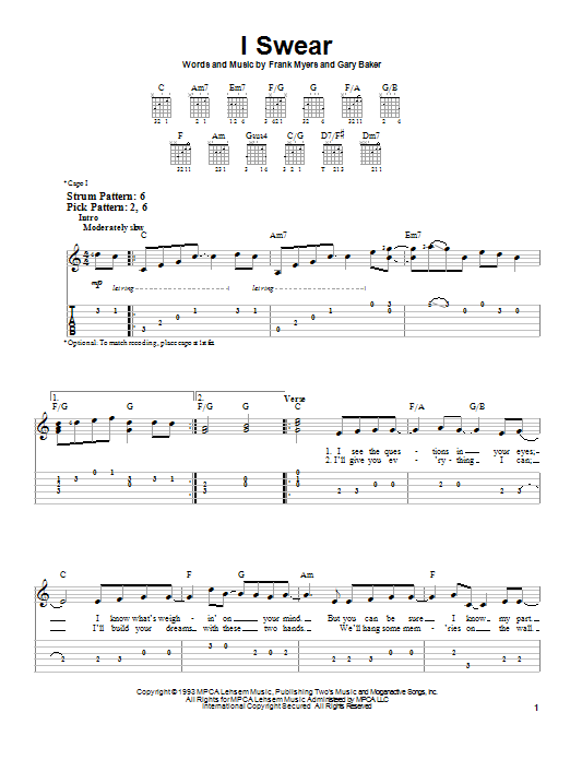 Tablature guitare I Swear de John Michael Montgomery - Tablature guitare facile