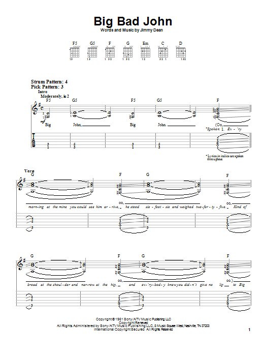 Tablature guitare Big Bad John de Jimmy Dean - Tablature guitare facile