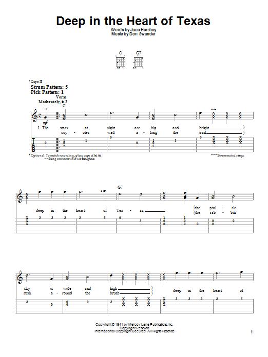 Tablature guitare Deep In The Heart Of Texas de Alvino Rey & His Orchestra - Tablature guitare facile