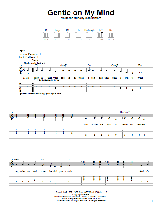 Tablature guitare Gentle On My Mind de Glen Campbell - Tablature guitare facile