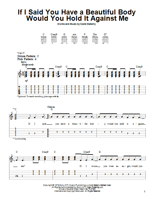 Tablature guitare If I Said You Have A Beautiful Body Would You Hold It Against Me de The Bellamy Brothers - Tablature guitare facile
