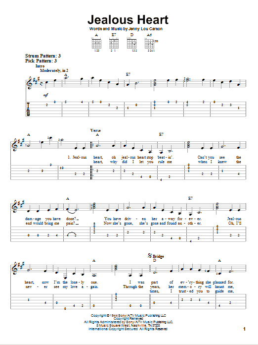 Tablature guitare Jealous Heart de Tex Ritter - Tablature guitare facile