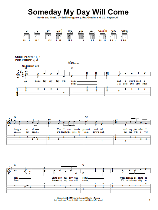 Tablature guitare Someday My Day Will Come de George Jones - Tablature guitare facile
