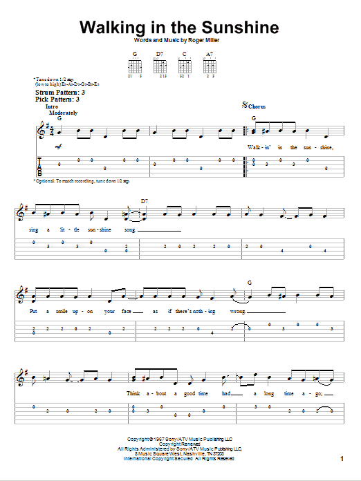 Tablature guitare Walking In The Sunshine de Roger Miller - Tablature guitare facile
