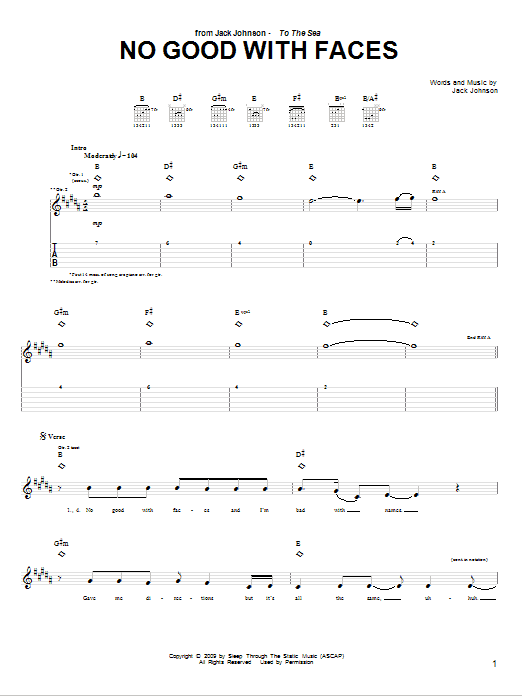 Tablature guitare No Good With Faces de Jack Johnson - Tablature Guitare
