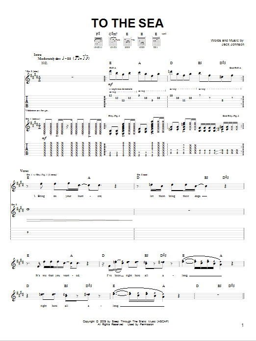 Tablature guitare To The Sea de Jack Johnson - Tablature Guitare