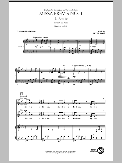 Missa Brevis No. 1 sheet music for choir and piano (SSA) by Peter Robb