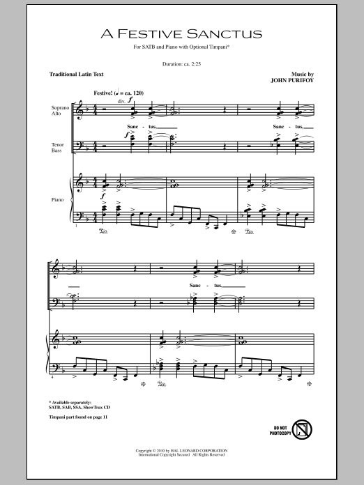 A Festive Sanctus sheet music for choir and piano (SATB) by John Purifoy