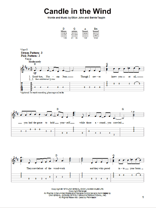 Candle in the wind chords