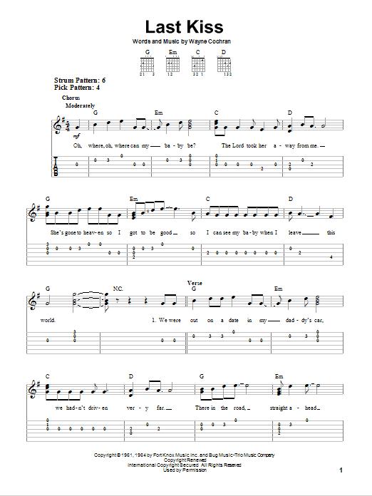 Tablature guitare Last Kiss de J. Frank Wilson - Tablature guitare facile