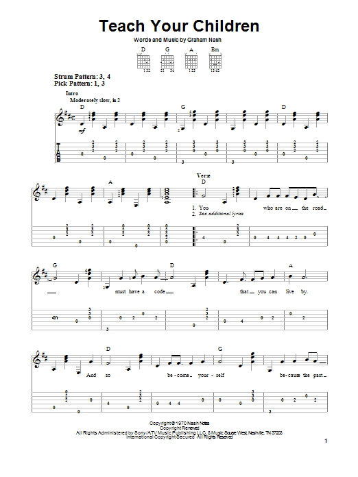 Tablature guitare Teach Your Children de Crosby, Stills, Nash & Young - Tablature guitare facile
