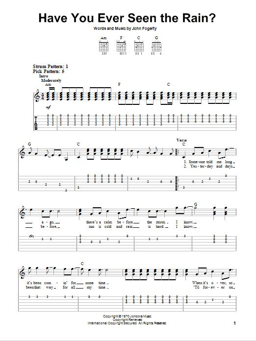 Sheet Music Digital Files To Print - Licensed John Fogerty Digital ...