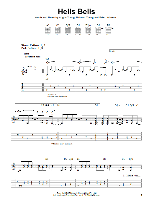 Hells Bells by AC/DC - Easy Guitar Tab - Guitar Instructor
