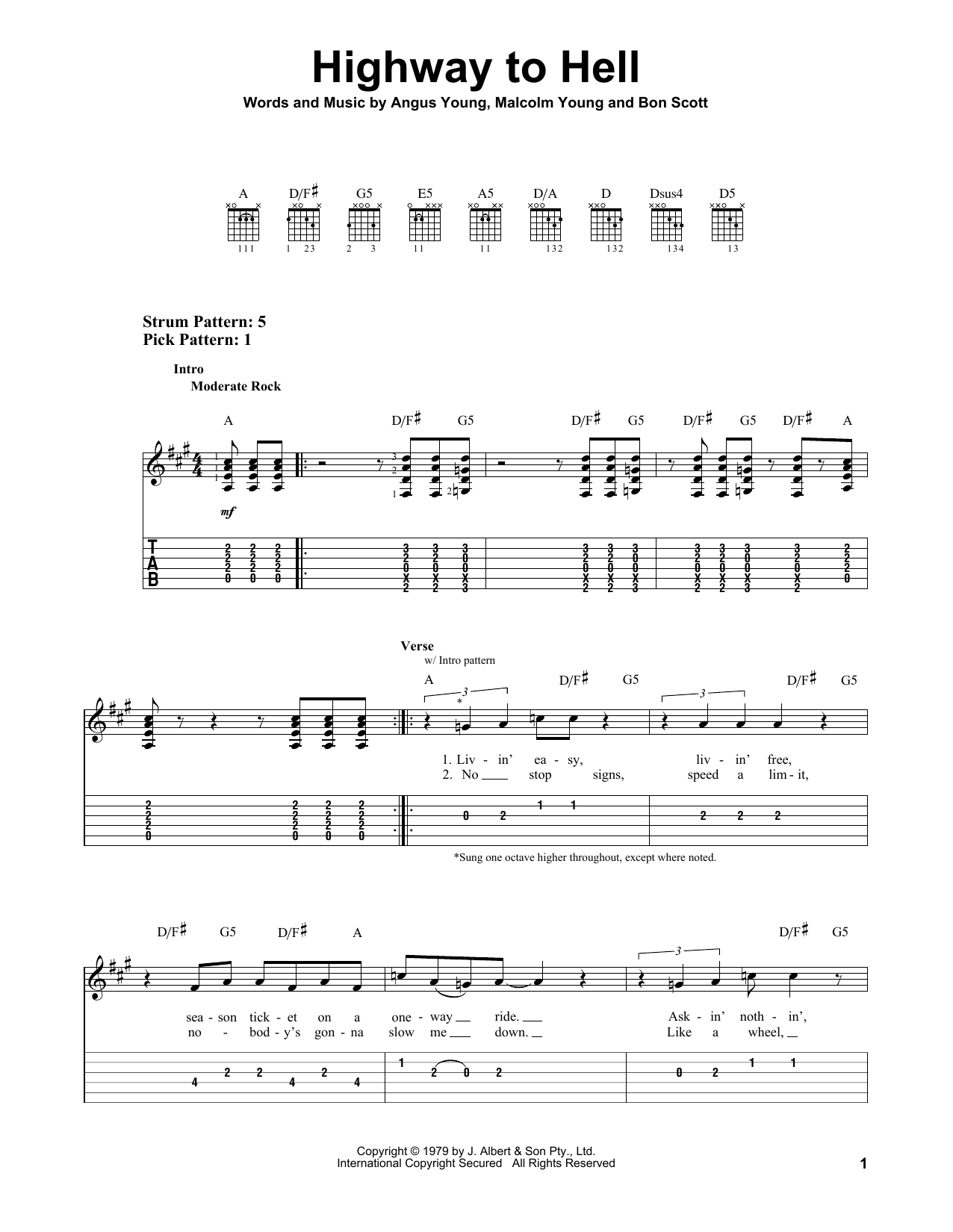Tablature guitare Highway To Hell de AC/DC - Tablature guitare facile