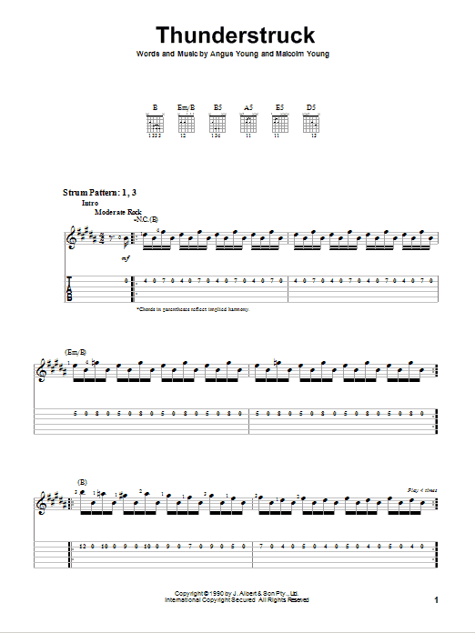 Thunderstruck sheet music by AC/DC (Easy Guitar Tab u2013 75690)