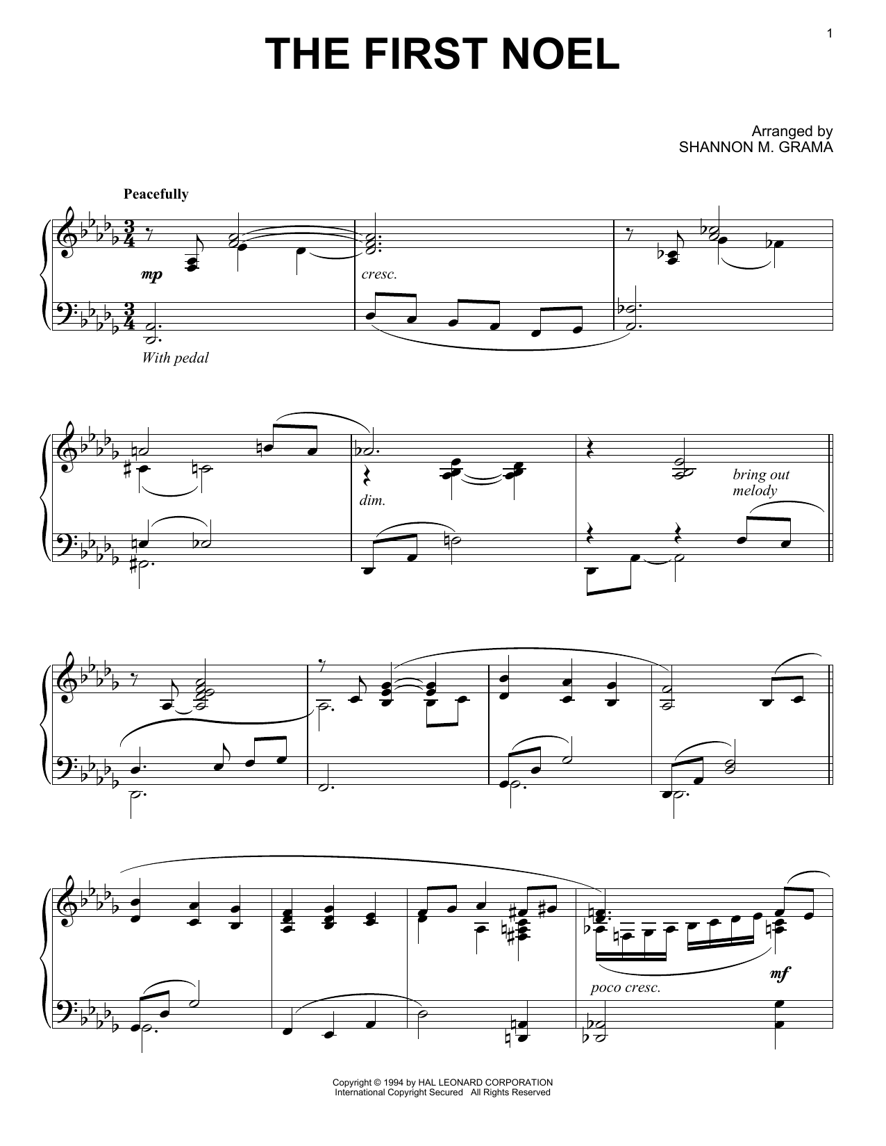 the first noel piano sheet music pdf