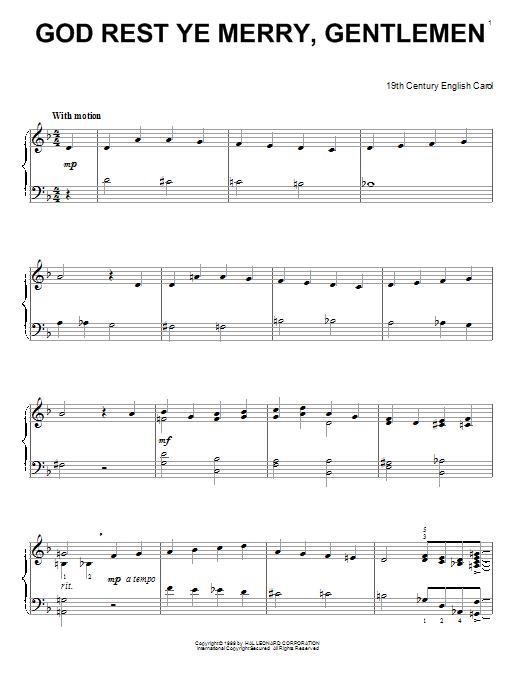Partition piano God Rest Ye Merry, Gentlemen de 19th Century English Carol - Piano Solo