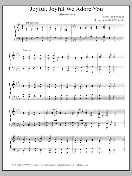 Joyful, Joyful, We Adore Thee sheet music for organ solo by Mark Thallander