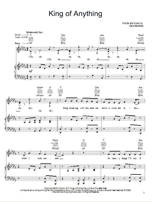 Sheet Music Digital Files To Print - Licensed Sara Bareilles Digital ...