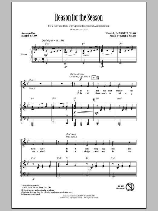 Reason For The Season sheet music for choir and piano (duets) by Markita Shaw