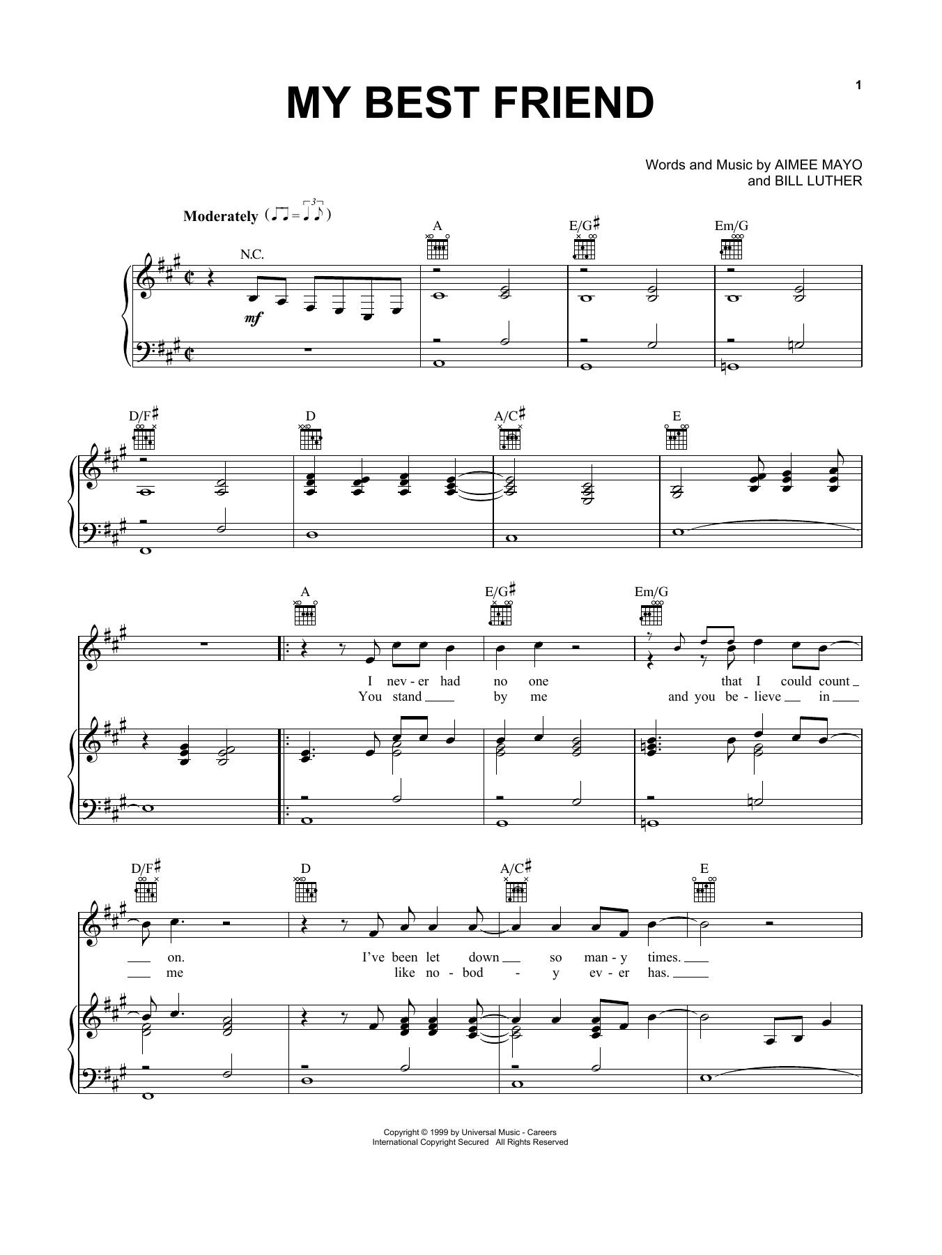Partition piano My Best Friend de Tim McGraw - Piano Voix Guitare (Mélodie Main Droite)