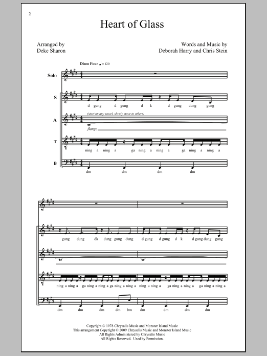 Heart Of Glass sheet music for choir and piano (SATB) by Chris Stein