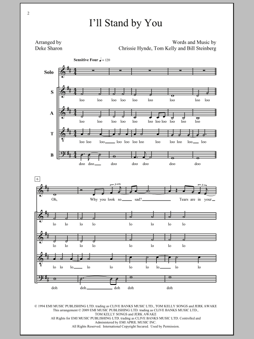 Partition chorale I'll Stand By You de The Pretenders - SATB
