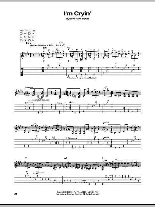 Tablature guitare I'm Cryin' de Stevie Ray Vaughan - Tablature Guitare