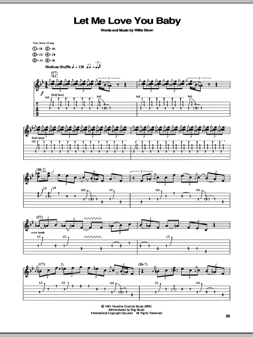 Tablature guitare Let Me Love You Baby de Stevie Ray Vaughan - Tablature Guitare