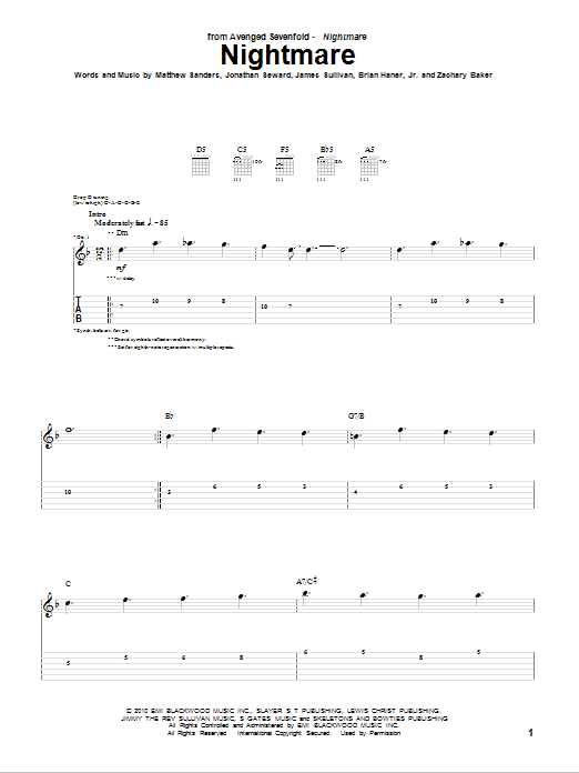 Tablature guitare Nightmare de Avenged Sevenfold - Tablature Guitare