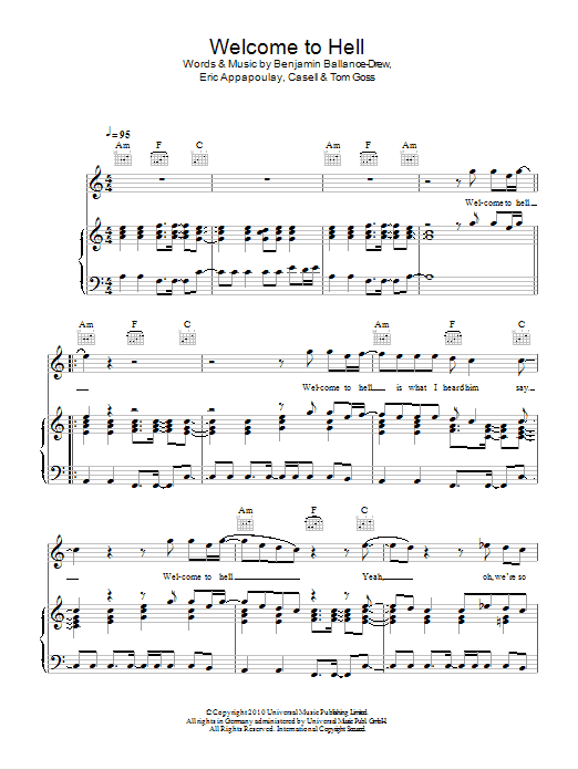 Welcome To Hell sheet music for voice, piano or guitar by Tom Goss