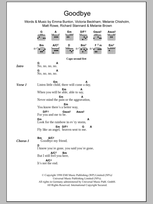 Goodbye sheet music for guitar solo (chords, lyrics, melody) by Victoria Beckham