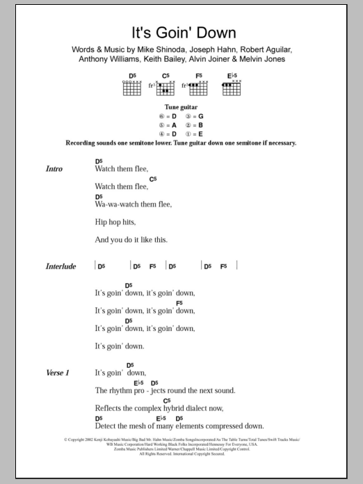 It's Goin' Down sheet music for guitar solo (chords, lyrics, melody) by Robert Aguilar