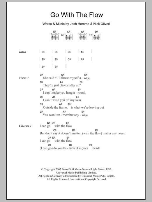 Go With The Flow sheet music for guitar solo (chords, lyrics, melody) by Nick Oliveri