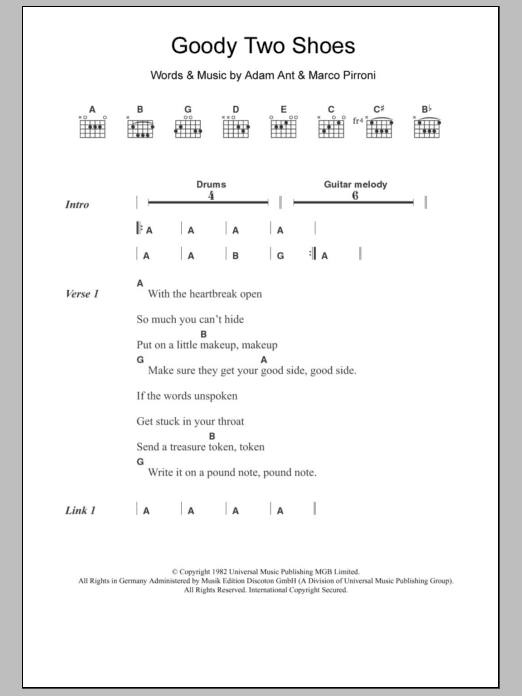 Goody Two Shoes sheet music for guitar solo (chords, lyrics, melody) by Marco Pirroni