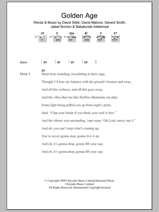Golden Age sheet music for guitar solo (chords, lyrics, melody) by Jaleel Bunton