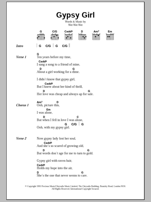 Gypsy Girl sheet music for guitar solo (chords, lyrics, melody) by Wet Wet Wet