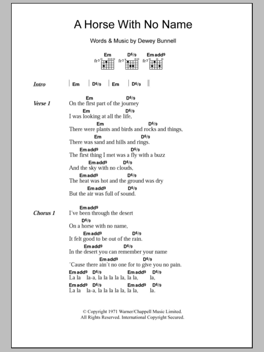 A Horse With No Name sheet music for guitar solo (chords, lyrics, melody) by Dewey Bunnell