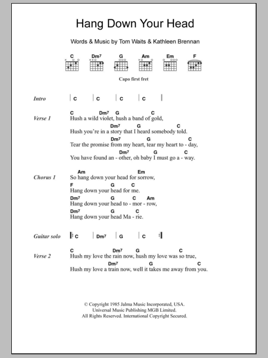 Hang Down Your Head sheet music for guitar solo (chords, lyrics, melody) by Kathleen Brennan
