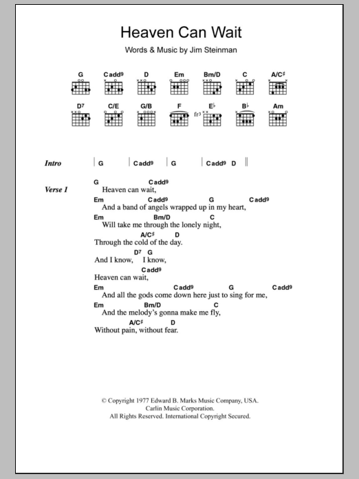 Heaven Can Wait sheet music for guitar solo (chords, lyrics, melody) by Jim Steinman