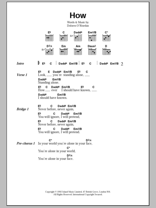 How sheet music for guitar solo (chords, lyrics, melody) by Dolores O'Riordan