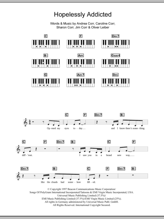 Hopelessly Addicted sheet music for piano solo (chords, lyrics, melody) by Sharon Corr