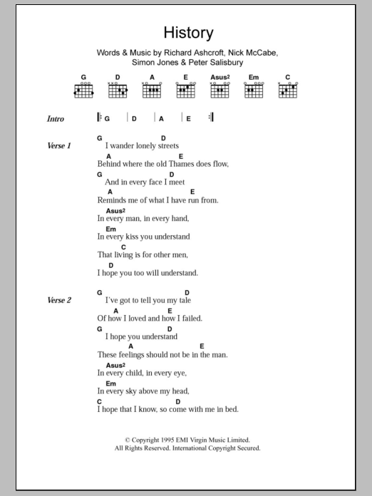 History sheet music for guitar solo (chords, lyrics, melody) by Simon Jones