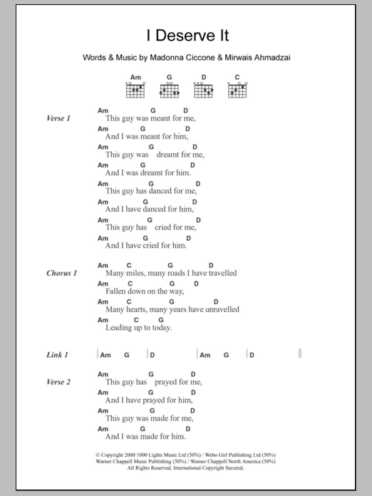 I Deserve It sheet music for guitar solo (chords, lyrics, melody) by Mirwais Ahmadzai