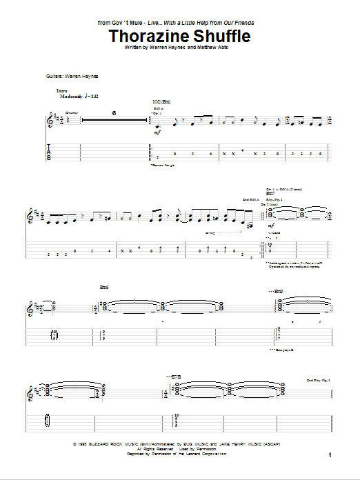 Tablature guitare Thorazine Shuffle de Gov't Mule - Tablature Guitare