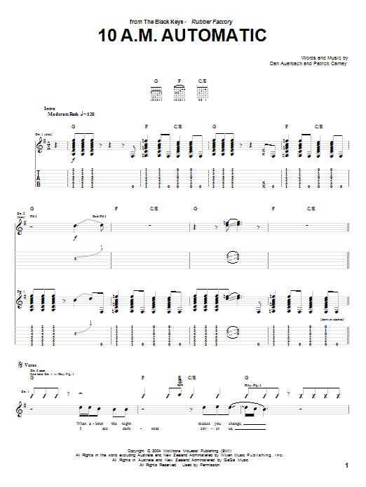 Tablature guitare 10 A.M. Automatic de The Black Keys - Tablature Guitare