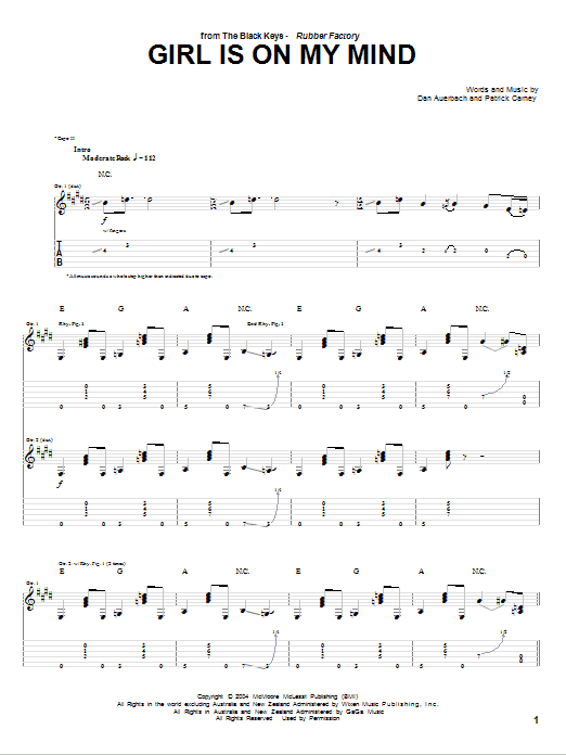Girl Is On My Mind sheet music for guitar solo (tablature) by Patrick Carney
