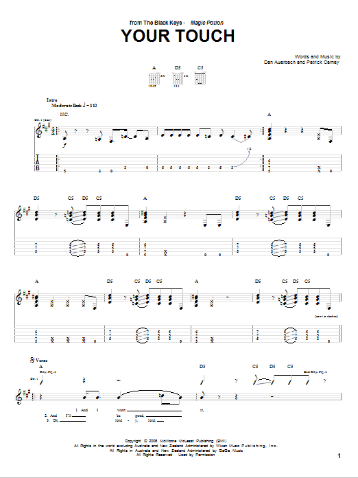 Your Touch sheet music for guitar solo (tablature) by Patrick Carney