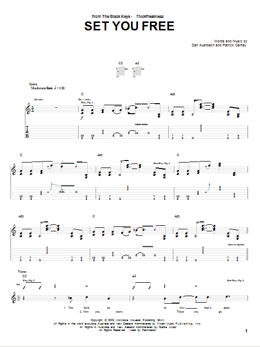 Set You Free sheet music for guitar solo (tablature) by Patrick Carney