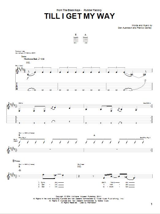 Tablature guitare Till I Get My Way de The Black Keys - Tablature Guitare
